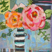 Stripes and Roses 36x36 Mixed Media